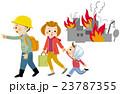 地震 避難 家族のイラスト 23787355