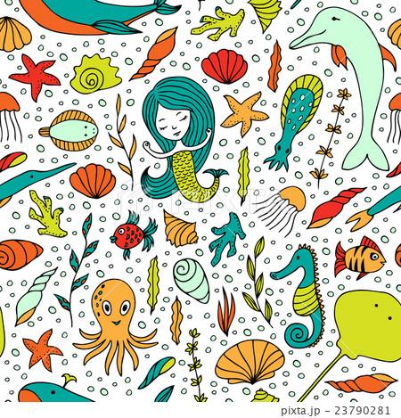 Seamless pattern marine life.のイラスト素材 [23790281] - PIXTA