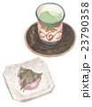 和菓子 桜餅 緑茶のイラスト 23790358