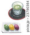和菓子 白バック 緑茶のイラスト 23790364