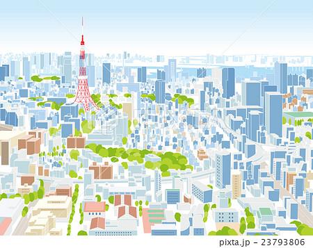 東京 街並みイラスト 俯瞰のイラスト素材 23793806 Pixta