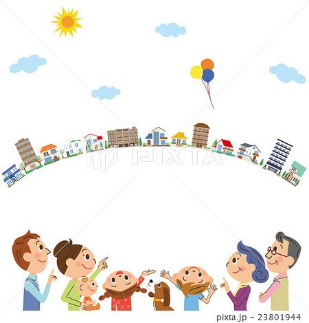 三世代家族と街並み 23801944