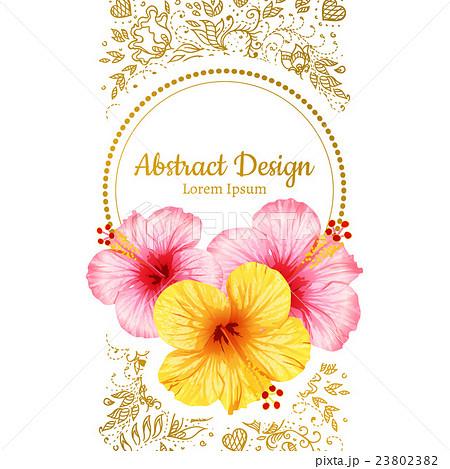 vector hibiscus flower invitation card のイラスト素材 23802382