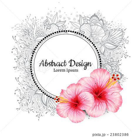 vector hibiscus flower invitation card のイラスト素材 23802386