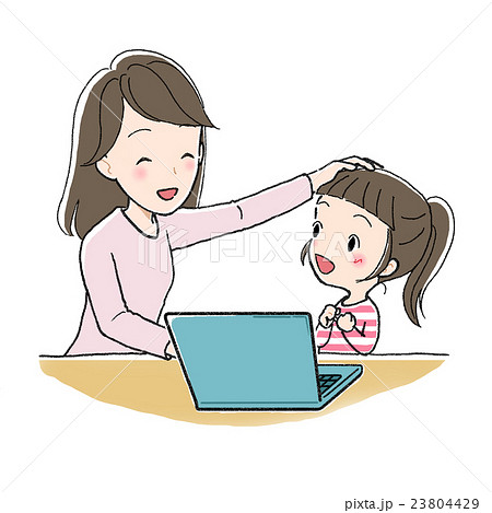 パソコンで勉強 女の子と女性 わかった 23804429
