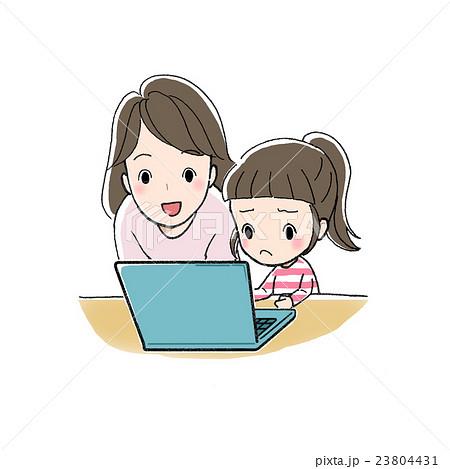 パソコンで勉強 女の子と女性 むずかしい 23804431