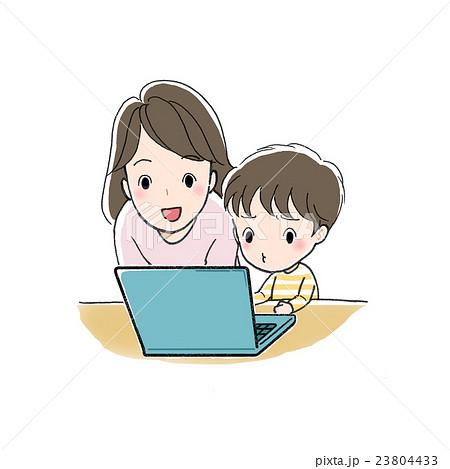 パソコンで勉強 男の子と女性 むずかしい 23804433