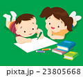 Cute boy and girl drawing 23805668