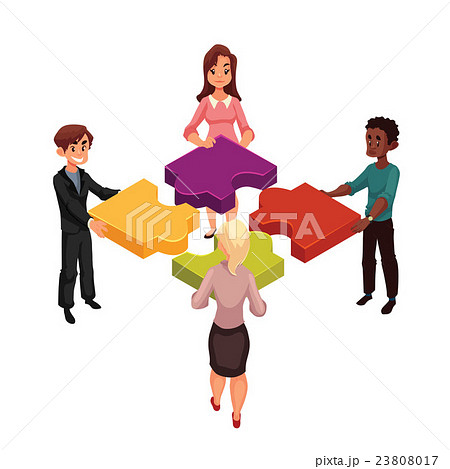 Four people putting jigsaw puzzles together 23808017
