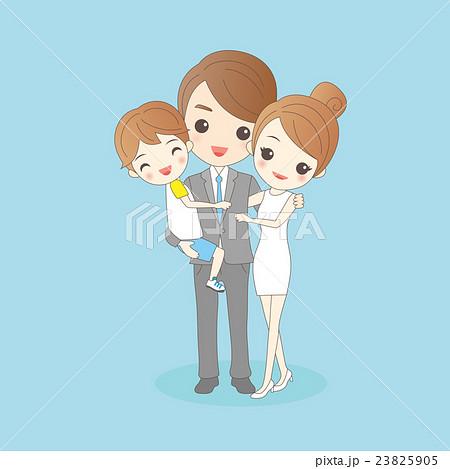 cartoon family is smling happilyのイラスト素材 23825905 pixta