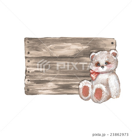 Wooden sign and Teddy bear. Watercolorのイラスト素材 [23862973] - PIXTA