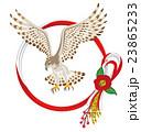 鷹と水引き飾り 年賀状素材 23865233