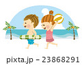 海水浴 男女 海のイラスト 23868291