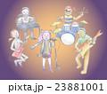 ハロウィンの仮装で歌うボーカル女性と演奏するバンドメンバーたち 23881001