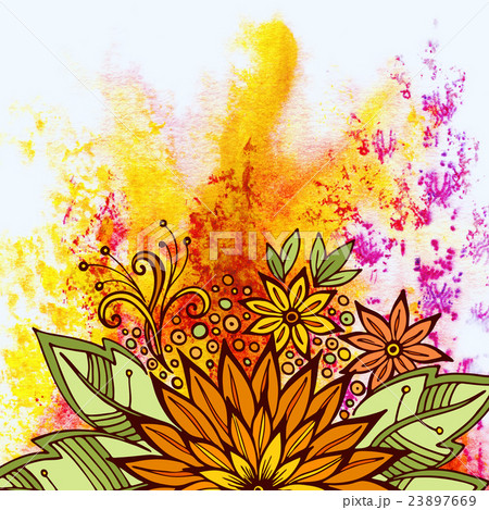 Floral Pattern on Watercolor Paintingのイラスト素材 [23897669] - PIXTA