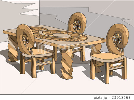 chairs and tableのイラスト素材 [23918563] - PIXTA