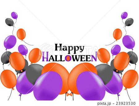 ふうせん、風船、バルーン、ハロウィン、ハロウィーン、黒、紫、オレンジ、上、スペース、白バック 23923530