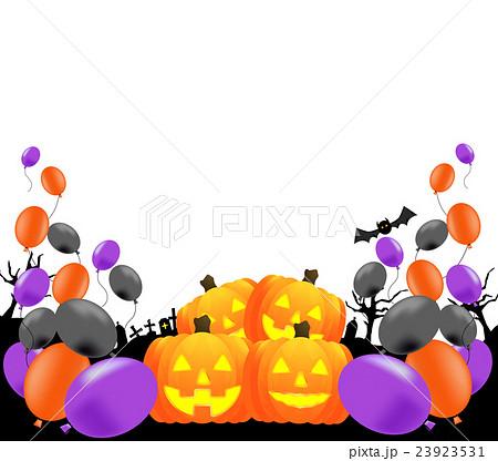 ふうせん、風船、かぼちゃバルーン、ハロウィン、黒、紫、オレンジ、上、スペース、白バック 23923531