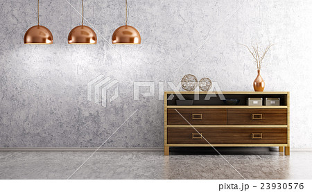living room with dresser and lamps 3d render 23930576