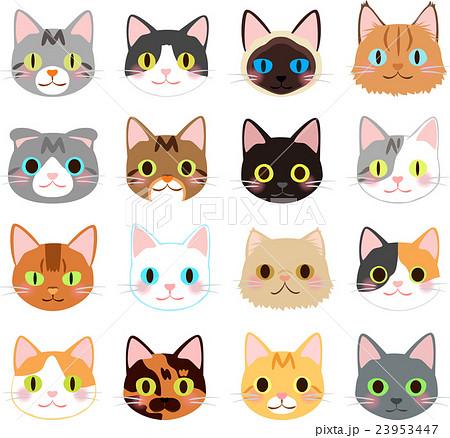 Pixta 猫の顔のイラストセットのイラスト素材 23953447