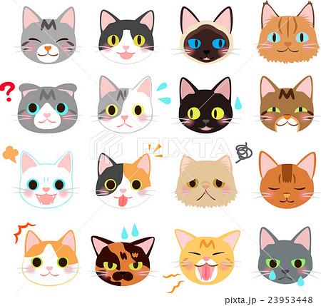 猫の表情のイラストセットのイラスト素材 23953448 Pixta