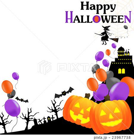 ハロウィン、HALLOWEEN,ハロウィーン、風船、バルーン、かぼじゃ、魔女、背景、白バック、正方形 23967738