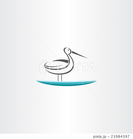 stork in water vector icon 23984397