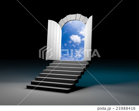 door to blue clear sky with steps 3d illustrationのイラスト素材