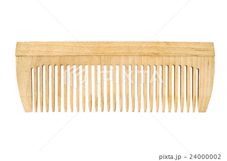 Wooden comb isolated on white backgroundの写真素材 [24000002] - PIXTA