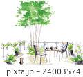 テラスでお茶のスケッチ くつろぎのシーン 庭のスケッチ 24003574