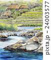 農村風景 手書きスケッチ ふるさとの絵 日本の原風景 24003577