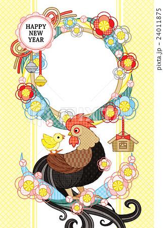 2017年酉年完成年賀状テンプレート「花注連縄と鶏親子写真フレーム 」HAPPYNEWYEAR (茶 24011875