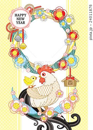 2017年酉年完成年賀状テンプレート「花注連縄と鶏親子写真フレーム 」HAPPYNEWYEAR (白 24011876