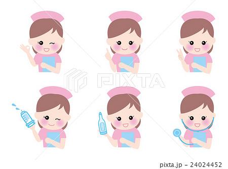 看護師 女性ナース 6ポーズ 笑顔 24024452