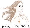 女性 ヘアケア ロングヘアのイラスト 24026653