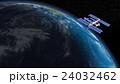 地球とISS (宇宙ステーション)3DCG perming3DCG160815_03 イラスト素材 24032462