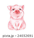 Funny pig. Cute watercolor illustration 1 24032691