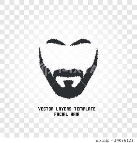 Isolated face with mustache and beard vector logoのイラスト素材 [24036123] - PIXTA