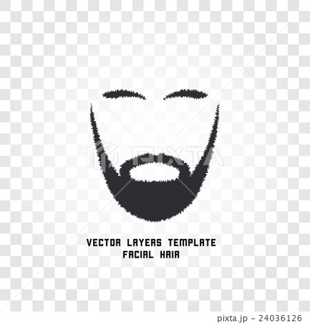 Isolated face with mustache and beard vector logoのイラスト素材 [24036126] - PIXTA