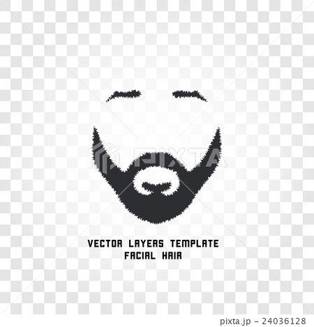 Isolated face with mustache and beard vector logoのイラスト素材 [24036128] - PIXTA