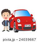赤い自動車、スポーツカーと男性 24039667