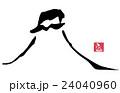 墨絵 富士山(ふじ 印風).n 24040960