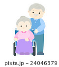 Senior woman patient sitting on wheelchair vector 24046379