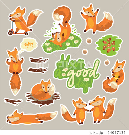 Collection of stickers with cute cartoon foxesのイラスト素材 [24057135] - PIXTA