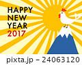 年賀状2017 にわとりと日の出 24063120