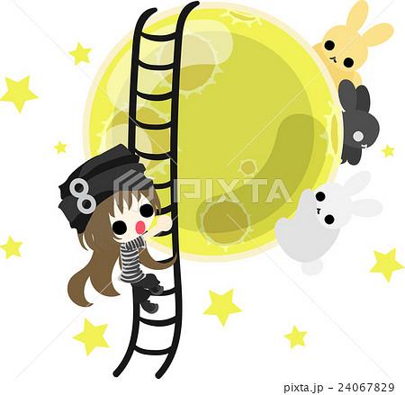可愛い女の子と綺麗な月と可愛いうさぎのイラスト素材 24067829 Pixta