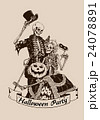 Vintage skeletons pumpkin halloween poster 24078891