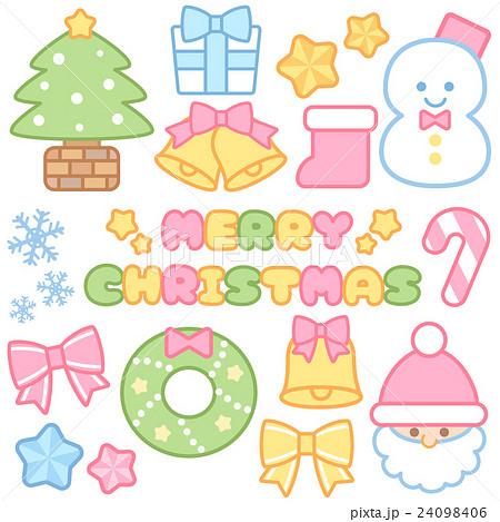 かわいいパステルカラーのクリスマスイラストロゴアイコン セット