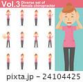 ピンクの制服を着た整体師の女性vol.3(様々な表情やポーズのイラストをセット) 24104425