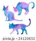 猫 シルエット 水彩のイラスト 24120632